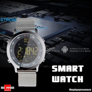 Bluetooth Stopwatch Smart Watch Bracelet Sport Outdoor Movement Tracker Remote Camera for Android Silver Colour