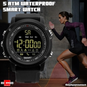 Bluetooth 5ATM Waterproof Standby 365 Days  Smart Sports Watch with Pedometer Remote for Camera Black Colour
