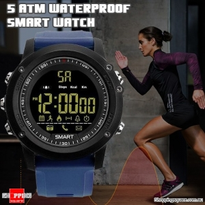 Bluetooth 5ATM Waterproof Standby 365 Days  Smart Sports Watch with Pedometer Remote for Camera Blue Colour