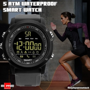 Bluetooth 5ATM Waterproof Standby 365 Days  Smart Sports Watch with Pedometer Remote for Camera Grey Colour