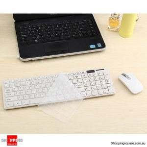 Wireless Cordless Keyboard and Optical Mouse USB Receiver Set for Windows PC White Colour
