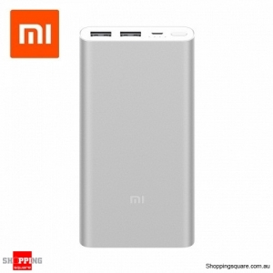 2018 New Xiaomi 10000mAh Power Bank 2 Dual USB Quick Charge 3.0 Portable Charger for Silver Colour