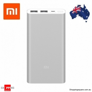 Original Xiaomi 10000mAh Power Bank 2 Dual USB Quick Charge 3.0 Portable Charger for Mobile Phone Silver Colour AU Stock