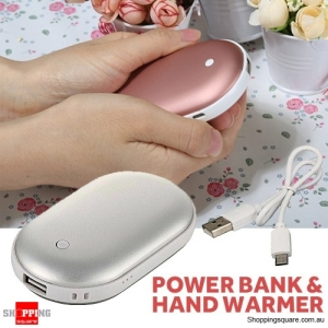 Electric USB Rechargeable Portable Pocket Hand Warmer Heater & Power Bank Rose Silver Colour