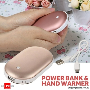 Warmer Hand Electric Rechargeable Pocket Usb Heater Charger Portable Power Bank Gold Colour