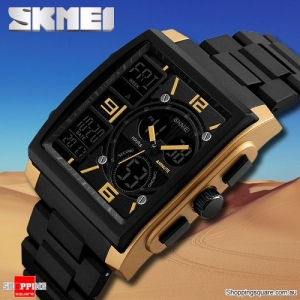 SKMEI 1274 Stylish Waterproof Outdoor Sport Digital Watch with PU Band Compass Chronograph Gold Colour