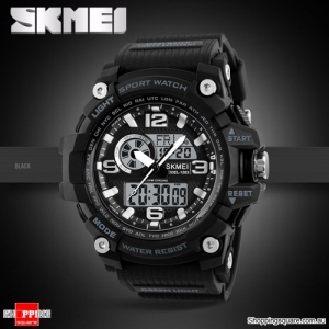 SKMEI 1283 LED Military Dual Display Chronograph Sport Digital Watch Black Colour