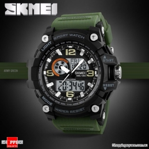 SKMEI 1283 LED Military Dual Display Chronograph Sport Digital Watch Green Colour