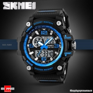 SKMEI 1283 LED Military Dual Display Chronograph Sport Digital Watch Blue & Black Colour