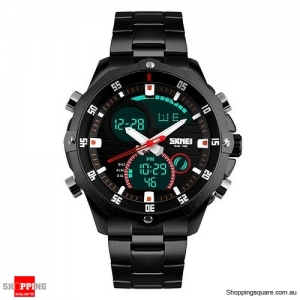 SKMEI 1146 Digital Watch Dual Display Luxury Multifunction Fashion Men Quartz LED Watch Black Colour