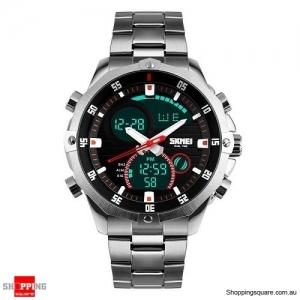 SKMEI 1146 Men's Dual Display Luxury Multifunction Digital Watch Silver Colour
