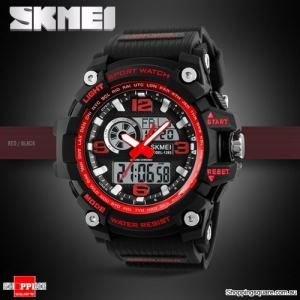 SKMEI 1283 LED Military Dual Display Chronograph Sport Digital Watch Red & Black Colour