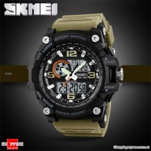 SKMEI 1283 LED Military Dual Display Chronograph Sport Digital Watch Khaki Colour