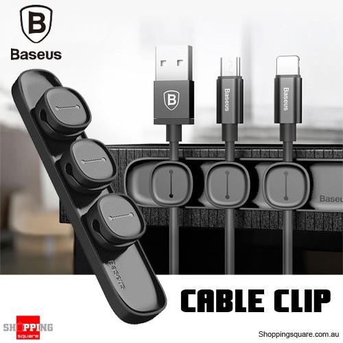 Baseus Peas Magnetic USB Cable Clip Organizer Clamp Desktop Winder Black Colour