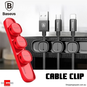 Baseus Peas Magnetic USB Cable Clip Organizer Clamp Desktop Winder Red Colour