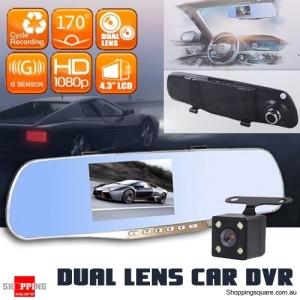 FHD 1080P Dual Lens Car Rear View DVR Reversing Mirror Video Recorder Camera Cam