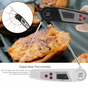 Waterproof Instant Read Folding Meat Thermometer with LCD Display for Cooking - White Colour