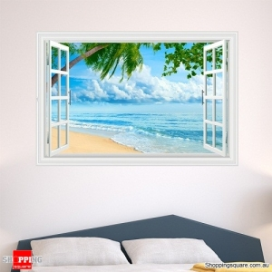 Windows 3D Artificial View Sea Room Wall Decals Stickers Home Decor Type B371