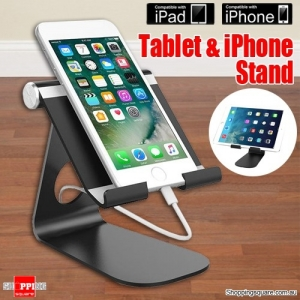 Anti-Slip Aluminum Alloy Portable Mount Stand Holder for Tablet iPad Air Mini 4 iPhone Black Colour