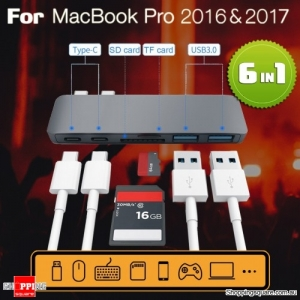 6 in 1 USB C Hub 3.0 Type-C Adapter Charging Data Sync Card Reader for MacBook Pro Grey Colour