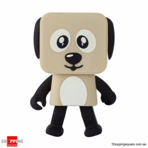Portable DOG Bluetooth Stereo Audio MP3 Speaker Dance Function Robot Music Brown Colour