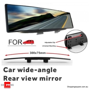 300mm Car Vehicle Convex Curve Interior Wide Angle Rear View Mirror - Blue
