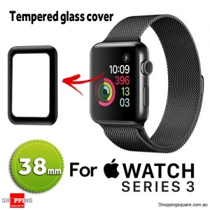 Tempered Glass Screen Protector Full Edge Cover for 38mm Apple Watch iWatch Series 3 Black Colour