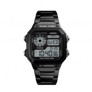 SKMEI Men's Waterproof Digital Chronograph Dual display EL Backlit Watch - Black