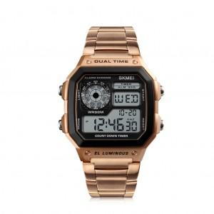SKMEI Men's Waterproof Digital Chronograph Dual display EL Backlit Watch - Rose Gold