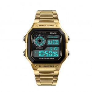 SKMEI Men's Waterproof Digital Chronograph Dual display EL Backlit Watch - Gold