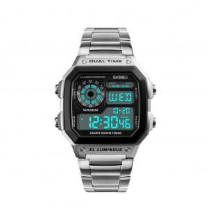 SKMEI Men's Waterproof Digital Chronograph Dual display EL Backlit Watch - Silver