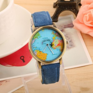 Stylish Earth World Map Watch with Aircraft Pattern Time Display Travel Clock - Blue