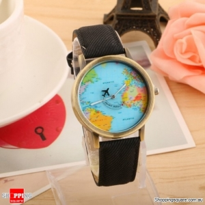 Stylish Earth World Map Watch with Aircraft Pattern Time Display Travel Clock - Black