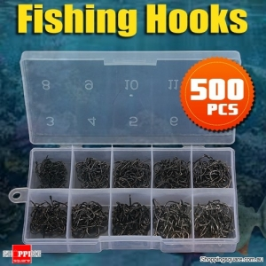 FISHING 500pcs 10 Sizes of Hooks Tackle for Freshwater Sea Fly Fishing With Box - Black Colour