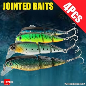 4Pcs of Multicolored 3 Sections Jointed Fishing Lures Hard Baits Minnow
