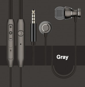 3.5mm Magnetic In-Ear Earbuds Earphones with Mic - Gray