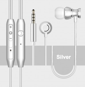 3.5mm Magnetic In-Ear Earbuds Earphones with Mic - Silver