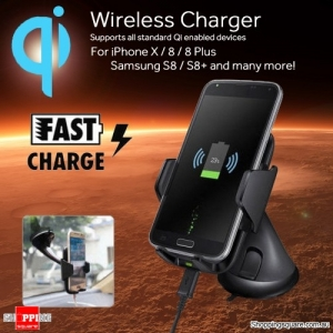 Fast Wireless Phone Charger Car Mount Holder for Samsung S9 S8 Note 8