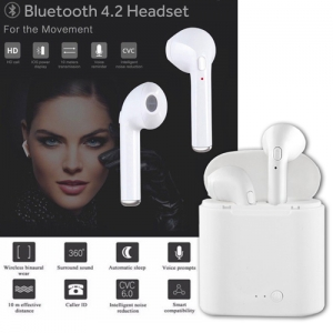 i7s Wireless Stereo Bluetooth 4.2 Earphones with Charging Box for iPhone Android - White