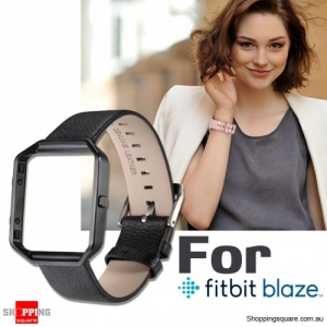 Genuine Leather Material Watch Strap Wrist Bands & Frame For Fitbit Blaze Replacement Black Colour