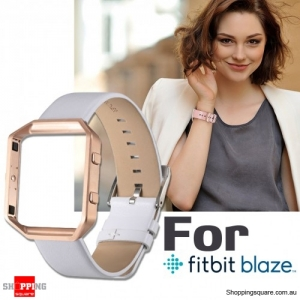 Genuine Leather Material Watch Strap Wrist Bands & Frame For Fitbit Blaze Replacement White/Gold Colour