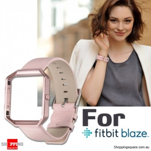 Genuine Leather Material Watch Strap Wrist Bands & Frame For Fitbit Blaze Replacement Pink / Rose Gold Colour