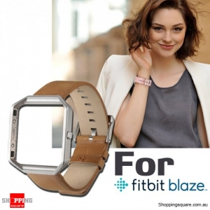Genuine Leather Material Watch Strap Wrist Bands & Frame For Fitbit Blaze Replacement Brown/Silver Colour