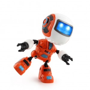 Smart Robot Toy Speaking Electronic Action Figure Toy Head Touch-Sensitiv LED Light Alloy Robot Toys-Orange