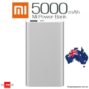 Genuine XIAOMI 5000mAh 2 Ultra Thin Alloy Metal Power Bank for iPhone Android Silver Colour