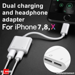 Dual Lightning Compatible Adapter Cable Charger for Charging and Earphone Jack for iPhone 7 8 X