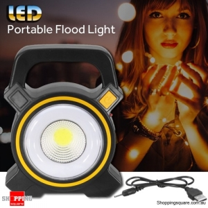 30W USB Rechargeable Outdoor Garden Camping Solar COB LED Portable Flood Light Spot Lamp Yellow & Black Colour