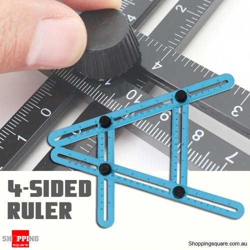 DURABLE Four Sided Measuring Multi Angle Ruler Template Angle Finder Protractor Tool Blue Colour