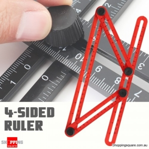 DURABLE Four Sided Measuring Multi Angle Ruler Template Angle Finder Protractor Tool Red Colour