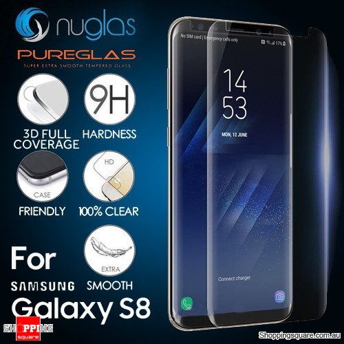 NUGLAS/PUREGLAS Tempered Glass Full Cover Screen Protector For Samsung Galaxy S8 - Transparent